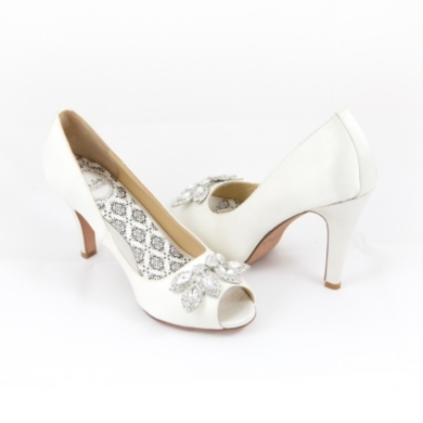 "3"" and 4"" 100% Silk Satin peeptoe pump with bejeweled toes. Available in White, Cobalt"