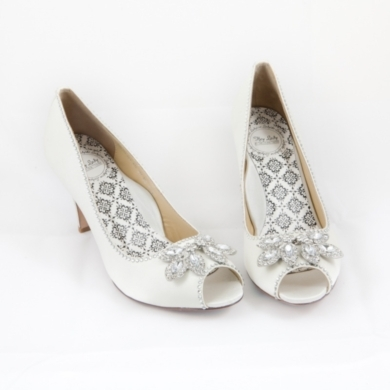 "3"" and 4"" 100% Silk Satin peeptoe pump with bejeweled toes and rhinestone crystal-edged sides.Availa"