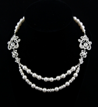 Bridal Pearl Necklace- Vintage L' Amour Luxe- Swarovski Crystal and Pearl