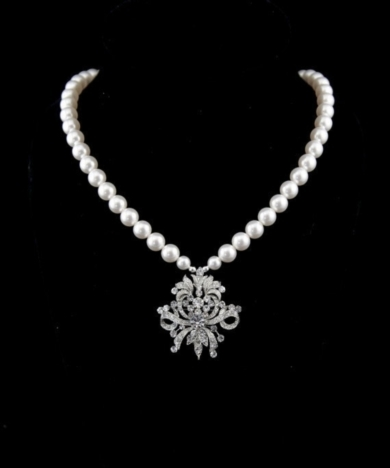 Bridal Pearl Necklace - Swarovski crystals and pearls