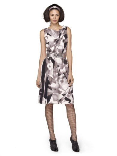 JEWEL PRINT SILK FAILLE SLEEVELESS DRESS