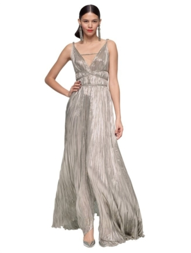 LAME PLEATED GODDESS GOWN