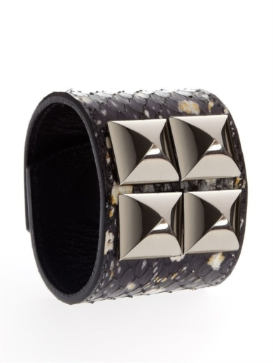 PRINTED ELAPHE CUFF WITH STUDS