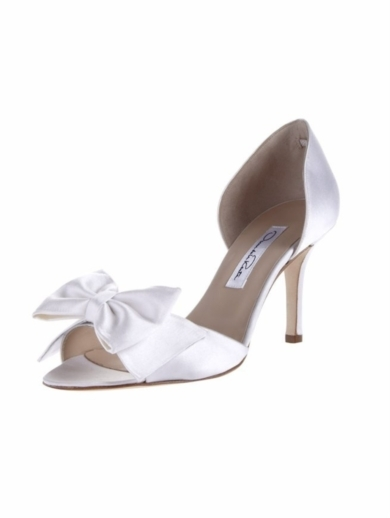 SATIN OPEN TOE DORSAY WITH BOW
