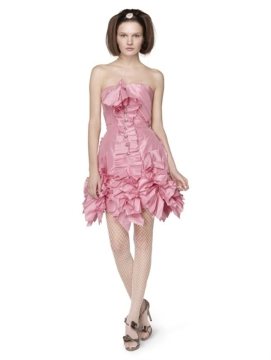 SILK TAFFETA RIBBON PLEATED DRESS