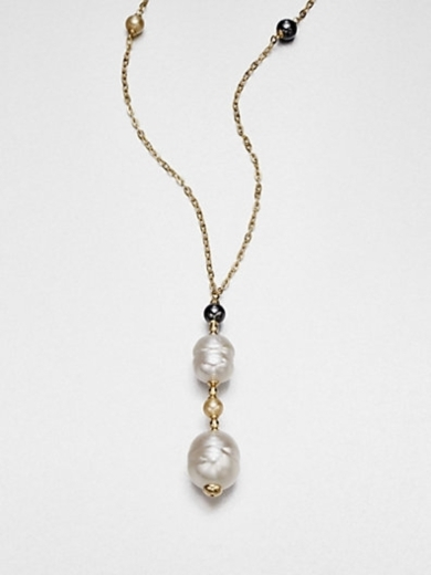12MM-16MM White Baroque & 6MM Round Champange Pearl Pendant Necklace