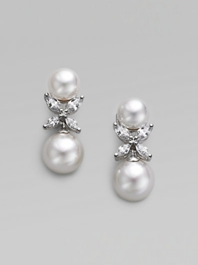 12MM White Pearl Drop Earrings