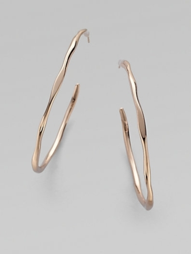 18K Gold & Sterling Silver Hoop Earrings