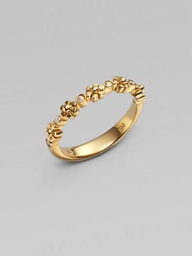 18K Gold Diamond Accented Small Fiori Ring