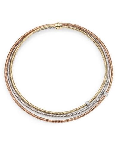 18K Tri-Tone Gold & Diamond Multi-Row Necklace