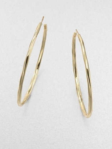 18K Yellow Gold Faceted Hoop Earrings/2.25