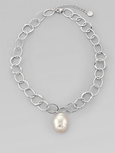 22MM White Baroque Pearl Chain Necklace/16