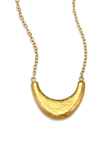 24K Gold Crescent Pendant Necklace