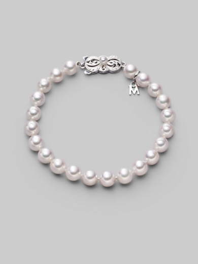 7MM White Cultured Pearl & 18K White Gold Bracelet