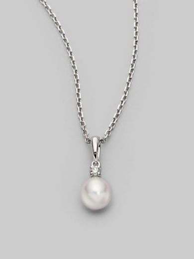 7MM White Round Cultured Pearl, Diamond & 18K White Gold Necklace