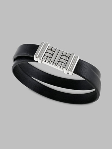 "Bedeg"""" Double-Wrap Leather Bracelet"