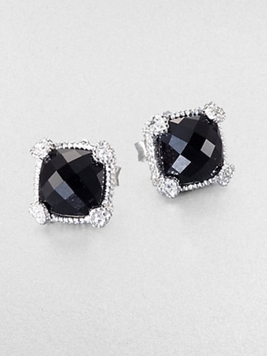 Black Onyx, White Sapphire and Sterling Silver Cushion Earrings