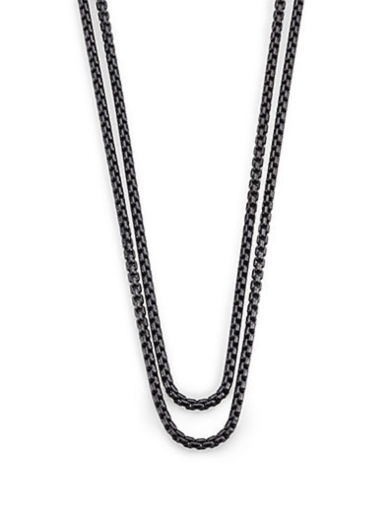 Blackened Sterling Silver Long Box Chain Necklace
