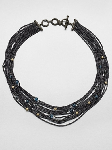 Blue Topaz, Hematite, Sterling Silver and 18K Yellow Gold Multi-Chain Necklace