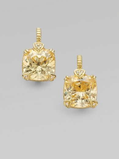 Canary Crystal, Diamond & 14K Gold Cushion Drop Earrings