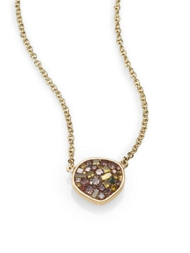 Cinnamon and Multicolor Diamond and 18K Yellow Gold Necklace