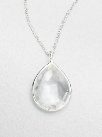 Clear Quartz & Sterling Silver Large Teardrop Pendant Necklace