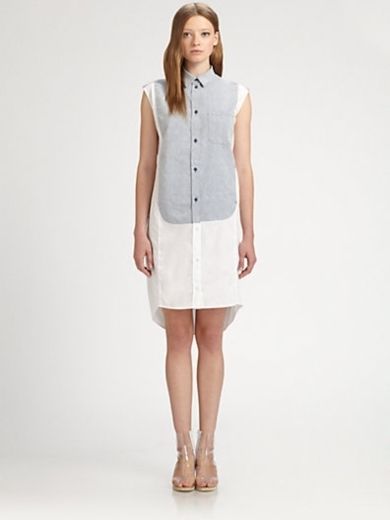 Combo Cap-Sleeve Shirtdress