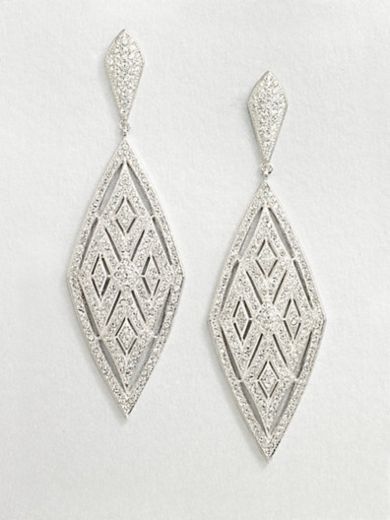Crystal Encrusted Diamond Drop Earrings