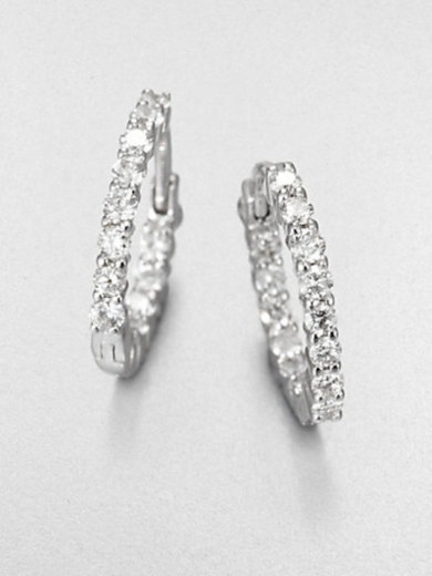 Diamond & 18K White Gold Hoop Earrings
