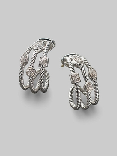 Diamond & Sterling Silver Open Cable Earrings/1