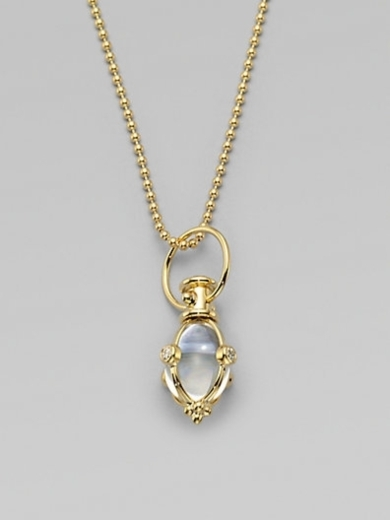 Diamond Accented 18K Gold Rock Crystal Amulet