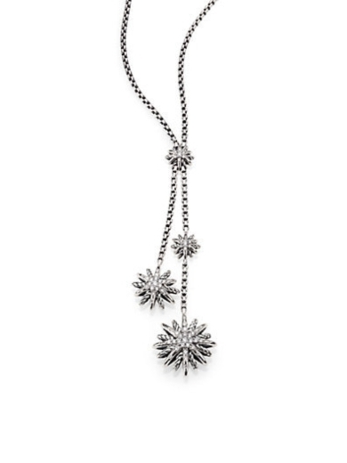 Diamond and Sterling Silver Starburst Lariat Necklace