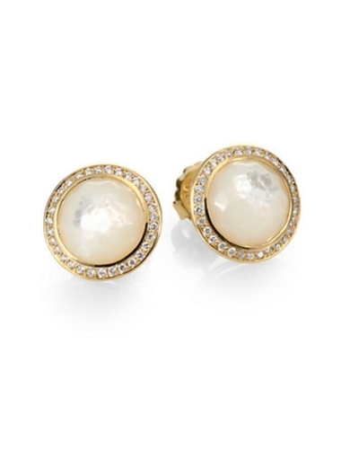 Diamond, Mother-of-Pearl and 18K Yellow Gold Earrings
