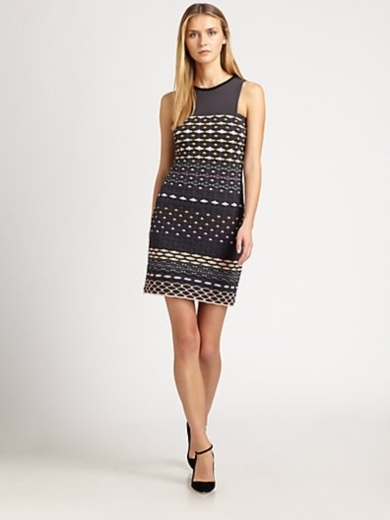Diamond-Stripe Sleeveless Dress
