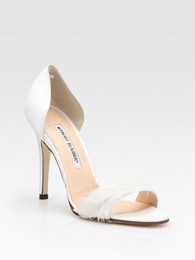 D'Orsay Satin and Feather Pumps
