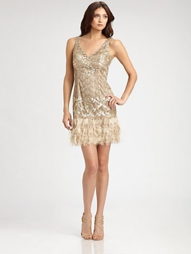 Feather-Trimmed Sequined Dress