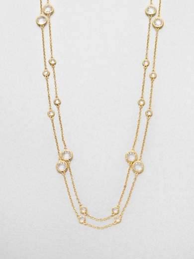 Long Double-Row Station Necklace/18K Goldplating