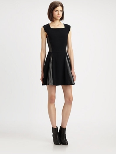 Lorie Leather-Panel Dress