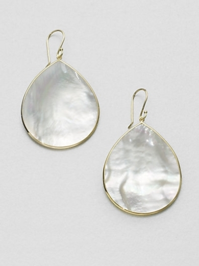 Mother-of-Pearl & 18K Gold Large Teardrop Earrings