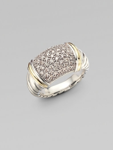 Pav Diamond Accented 18K Gold & Sterling Silver Ring