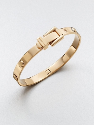 Rivet Accented Buckle Bangle Bracelet/Rose Goldtone