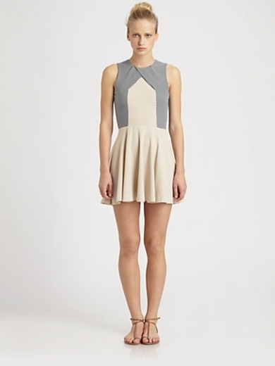 Seamed Cross-Panel Knit Dress