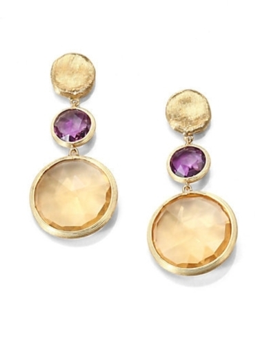 Semi-Precious Multi-Stone & 18K Gold Drop Earrings