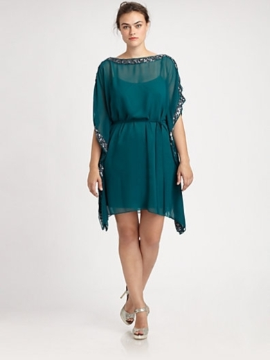 Sequin-Trim Caftan Dress