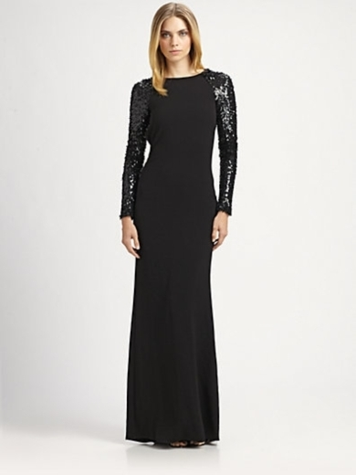 Sequined Sleeve Gown