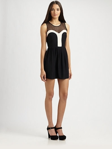 Silk Mesh-Block Dress