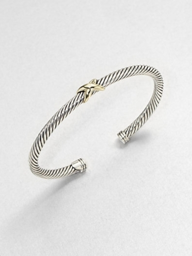 Sterling Silver & 18K Gold X Bangle Bracelet