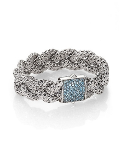 Swiss Blue Topaz and Sterling Silver Braid Bracelet