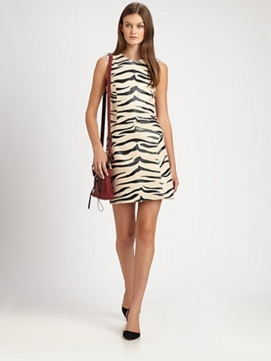 Tiger-Striped Leather Dress