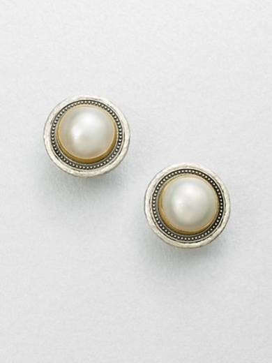 White Mabe Pearl & Sterling Silver Button Earrings